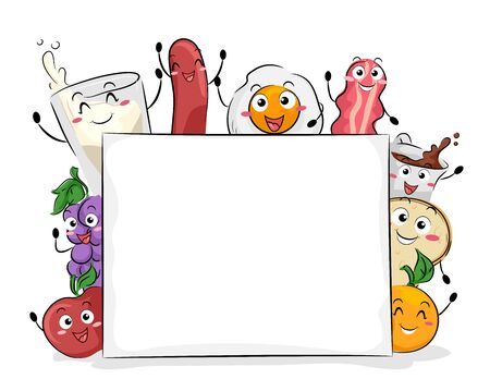 Breakfast Mascots with Blank Board from Apple to Milk to Orange
