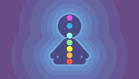 Glowing Person Silhouette with Seven Dots as Chakra Banque d'images - 129828691