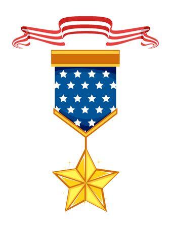Memorial Medal Ribbon with Star