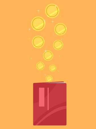 Gold Coins Dropping Into a Bank Book.
