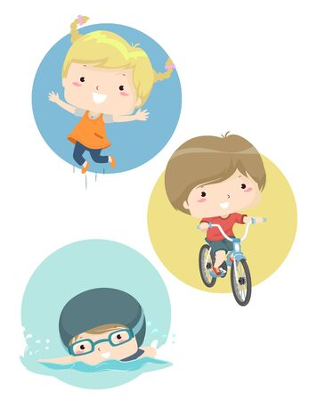 Kids Showing Different Abilities from Jumping, Biking to Swimming Stok Fotoğraf