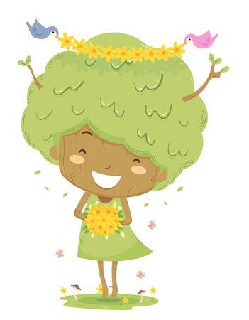 Kid Girl Tree Holding a Bouquet of Flowers with Birds Crowning Her with Floral Headpiece