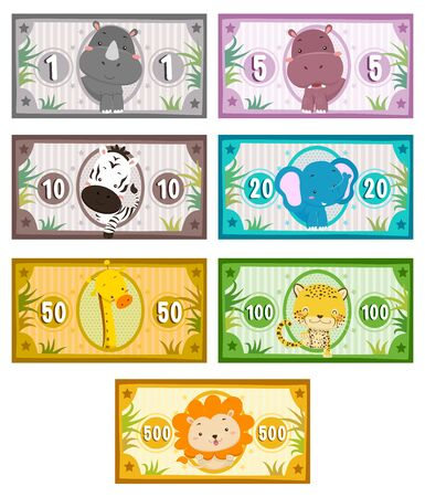 Animals on Play Money from Rhinoceros, Zebra to Lion