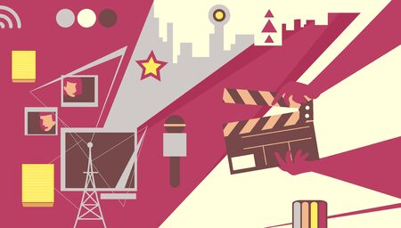 Conceptual Television Production Design with Clapper, Microphone, Buildings and Spotlight