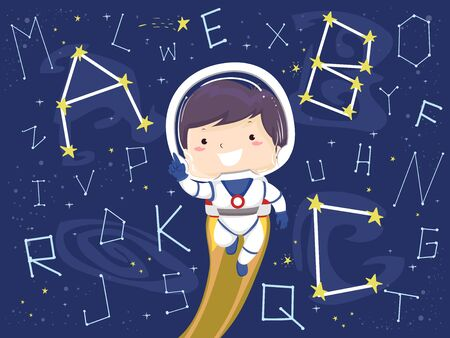 Boy Astronaut with Rocket Behind and Alphabet Star Constellations