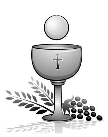 Eucharist with Goblet with Wine and Grapes and Wheat.