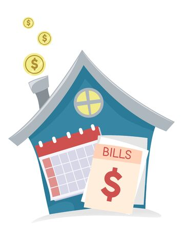 House with Gold Coins Coming Out from the Chimney with Calendar and Bills