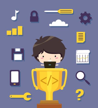 Boy with Laptop on Trophy with Programming Icons Banque d'images - 131942940