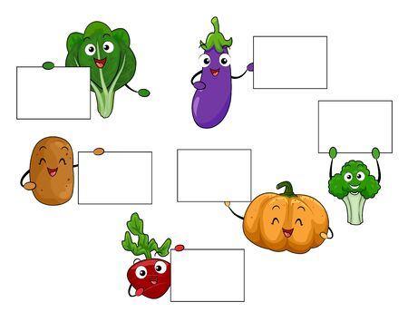 Different Vegetables Mascots from Spinach, Eggplant, Potato, Pumpkin, Broccoli to Radish