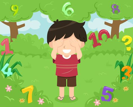 Kid Boy Covering His Eyes Playing Hide and Seek with Numbers