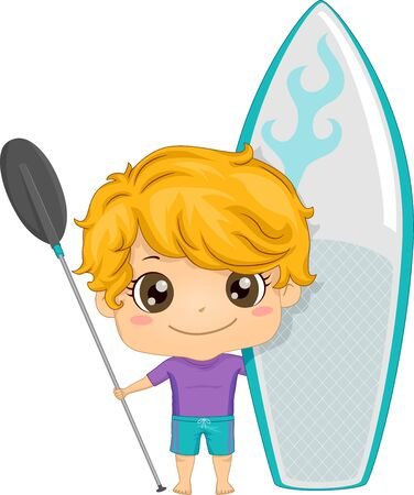 Kid Boy Holding a Paddle and a Board for Paddle boarding