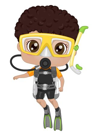 African American Kid Boy Wearing Goggles,  Fins and Carrying an Oxygen Tank for Scuba Diving