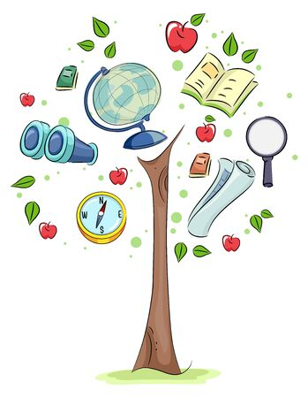 Geography Tree with Binoculars, Globe, Compass and Map Stockfoto