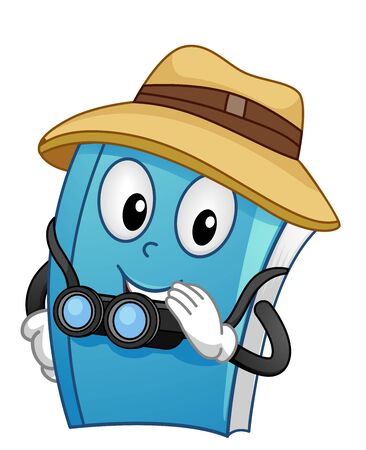 Book Mascot Explorer with a Hat and Binoculars