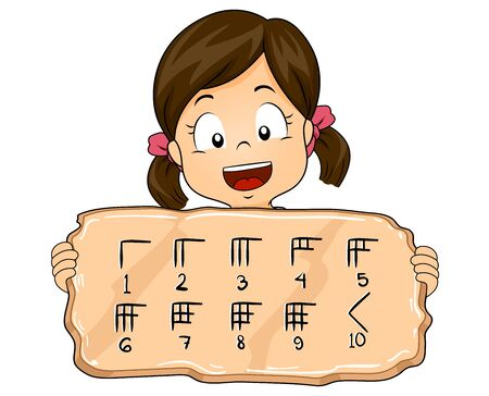Kid Girl Showing Babylonian Numeral System on a Block of Wood