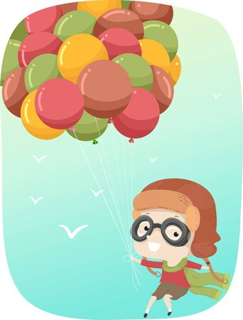 Kid Boy Floating in the Sky Being Carried by Balloons