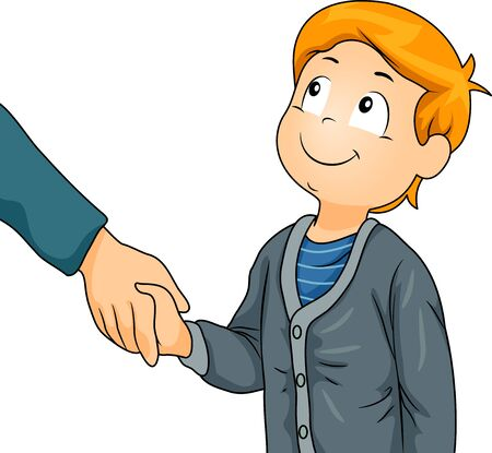 Kid Boy Shaking Hands of an Adult as Greeting