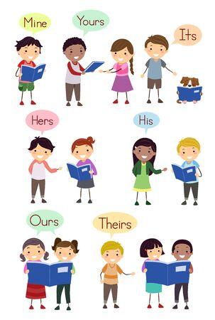 Dzieci pokazujące przykłady zaimków dzierżawczych, takich jak mój, twój, jego, jej, jego, nasz i ich Zdjęcie Seryjne
