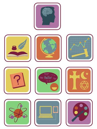 Different Topics or Subject Icons from Psychology, Arts to Geography