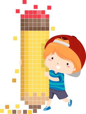 Kid Boy usando un lápiz Pixel Art Foto de archivo