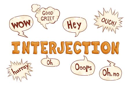 Sample Interjections for English Class in Speech Bubbles