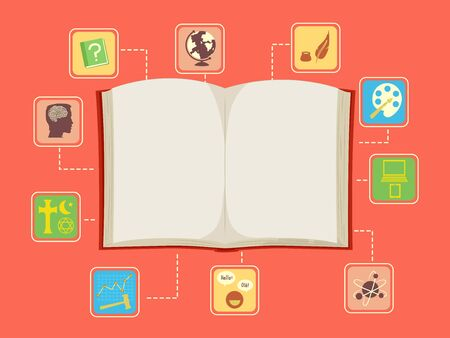 Classification Icons or Subjects on an Open Book from Arts to Technology Imagens