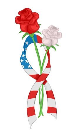 Roses and Ribbon with US Flag Design for Memorial Day