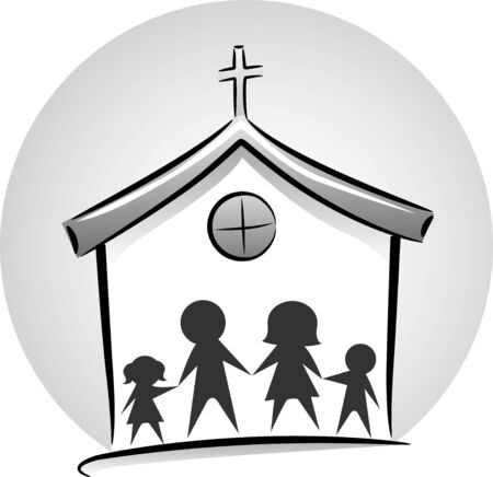 Family Silhouette Inside a Church Icon in Black and White
