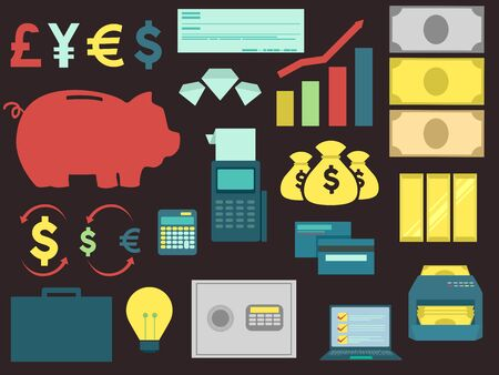 Different Banking Elements with Money Symbols, Checks, Graph, Calculator, Piggy Bank and Cards