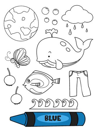Blue Crayon with Blue Elements in a Coloring Page