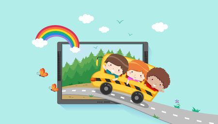 Kids Riding School Bus Into a Scene Inside a Computer Tablet.