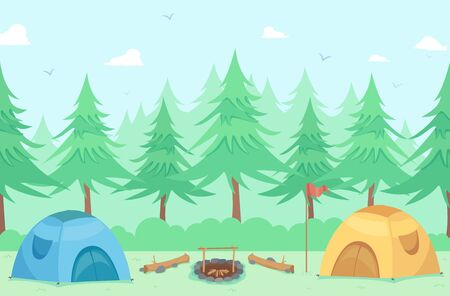 Camping Tents Outdoors with Trees, Flag, Bonfire and Sitting Logs