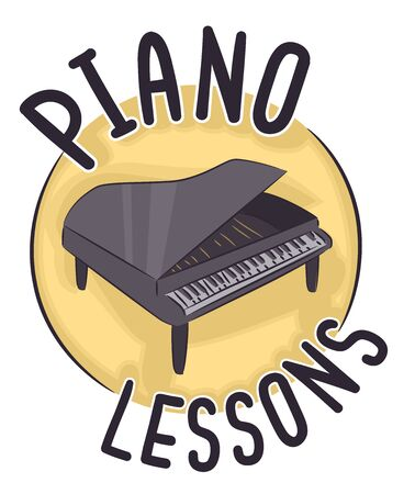 Grand Piano with Piano Lessons Lettering Icon