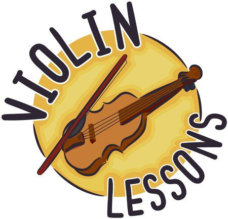 Violin with Violin Lessons Lettering Icon