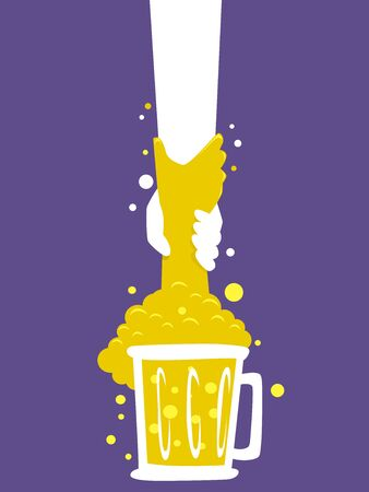 Hand Coming Out of a Mug of Beer with Another Hand Pulling it Up. Alcohol Abuse Awareness