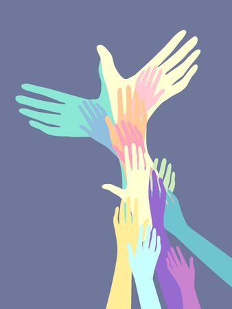 Hands Forming a Dove or Bird Silhouette. Peach Concept