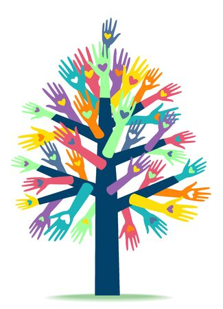 Several Hands with Heart Prints Forming a Tree. Charity Organization Stok Fotoğraf