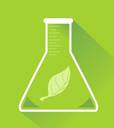 Conical Flask with a Single Green Leaf Inside.