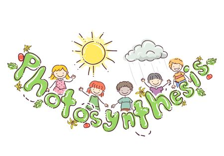 Kids with Photosynthesis Lettering, Leaves, Flower, Tomato Plant and the Sun and a Raining Cloud Stockfoto