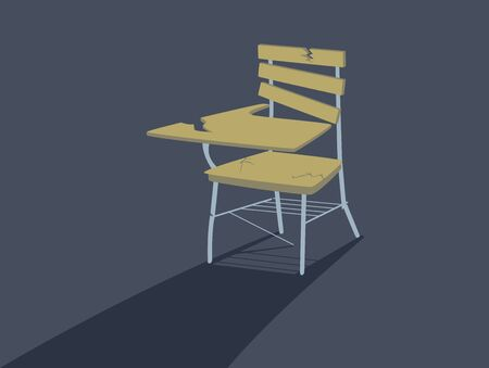 Broken School Armchair. Dropping Out of School Concept. Banque d'images - 133088291