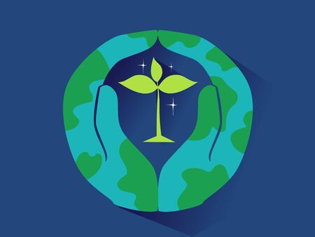 Hands Forming the Earth with a Seedling Plant in the Middle.
