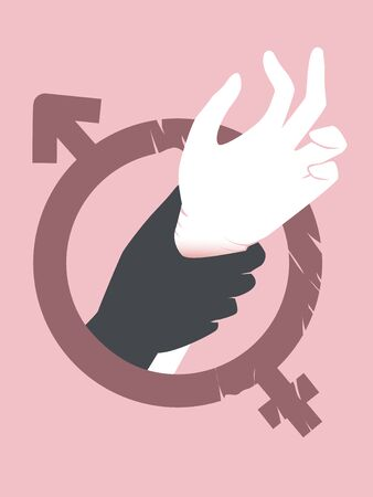 Silhouette Hand Holding Another Hand Inside a Male Female Symbol. Sexual Abuse Awareness