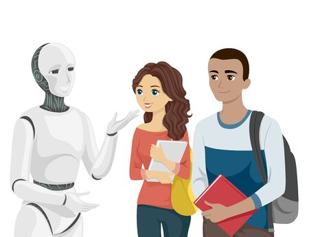 Teenage Girl and Guy Students Talking to A Robot at School Banque d'images - 133087634