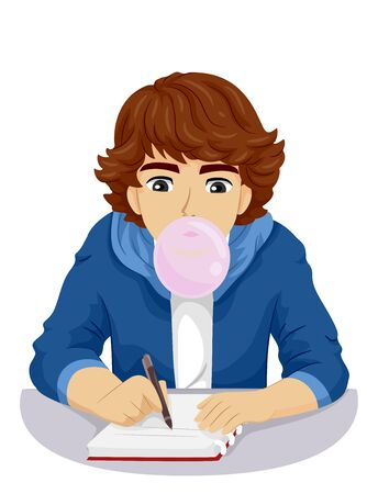 Teenage Guy Blowing a Chewing Gum While Studying and Writing On His Notebook Banque d'images - 133087650