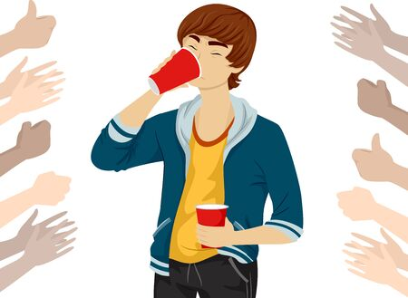Teenage Guy Drinking Beer with Hands Cheering and Clapping Around Him Stok Fotoğraf