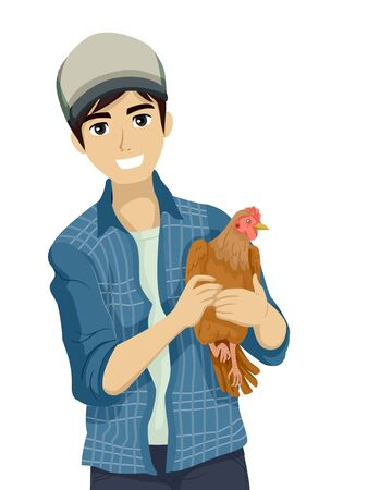 Teenage Guy Holding a Chicken in the Farm Stock fotó