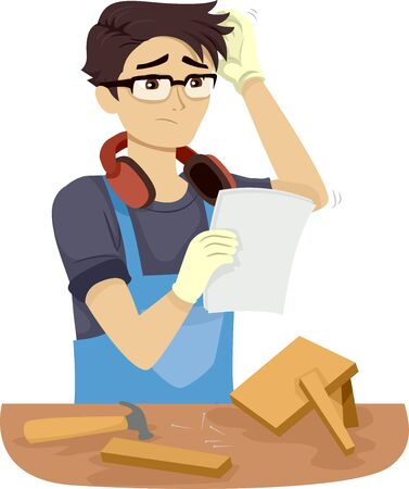 Illustration of a Teenage Guy Thinking Over a Woodworking Problem