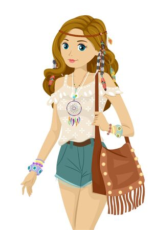 Illustration of a Teenage Girl Wearing Bohemian Style Clothes with Headdress and Bag Stock fotó