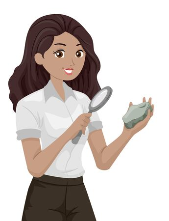 Illustration of a Teenage Girl Geologist Holding a Magnifying Glass and Looking at a Rock Closely