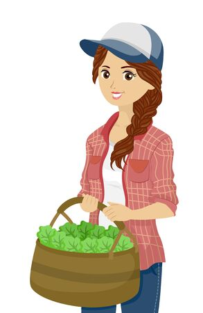 Illustration of a Teenage Girl Holding a Basket Full of Green Leafy Vegetables from the Garden or Farm